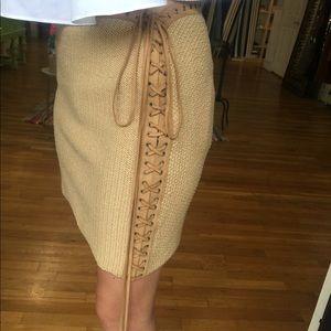 Sexy Salvatore Ferragamo Cotton Skirt with Leather